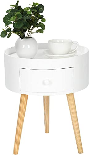 Round Side End Table with Drawer, Modern Accent Side Table Small Coffee Table White Nightstand Sofa Table Solid with Wood Legs for Living Room Bedroom Bedside Home Furniture
