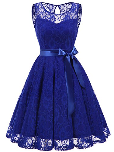 Floral Sleeveless Shorts (IVNIS RS90026 Women's Short Bridesmaid Dress Vintage Floral Lace Sleeveless Bow Cocktail Party Dress Royalblue L)
