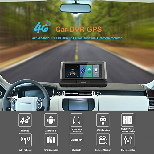 Dual Lens Dash Cam Full HD 1080P Video Recorder, 4G Car DVR Android 5.1 GPS Navigator 8 Inch Dash Cam with ADAS Function Support Bluetooth/WiFi/Remote Monitor/FM etc