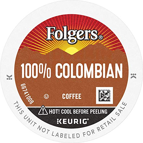 Folgers 100% Colombian Coffee, Medium-Dark Roast, K Cup Pods for Keurig K Cup Brewers, 144 Count