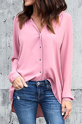 Femmes les les Chemise Mupoduvos Cou Plain Lache Long pink XXL V Dessus Mousseline Manche Chemisier U54wwx