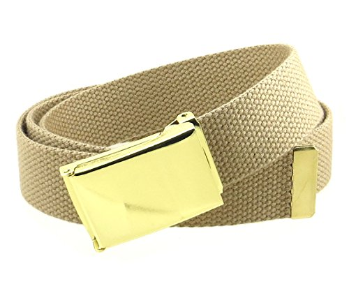 (Canvas Web Belt Flip-Top Brass Plate Buckle/Tip Solid Color 50