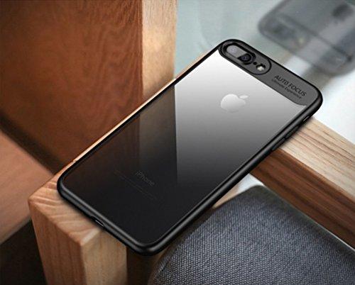 Funda iPhone X, Funda para iPhone 10 FLy Apple Funda protectora impermeable a prueba de golpes Anti-Scratch Transparente Funda trasera con TPU Placa trasera para iPhone de Apple 5.2 pulgadas (Negro) Negro iPhone 7 Plus/ 8 Plus