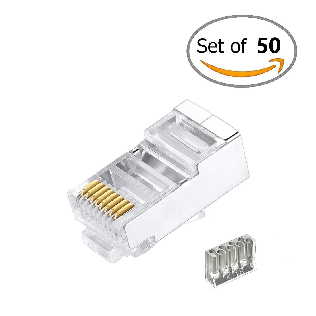 amazoncom cat6 2 piece metal shielded rj45 plug connector ftp 8p8c