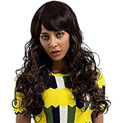 Suppion Women Fashion Ladies Long Black Natural Curls Hair Wigs Full Wig Approx.62cm (Black)