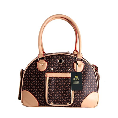 Fashion Dog Carrier PU Leather Dog Handbag Dog Purse Cat Tote Bag Pet Cat Dog Hiking Tasche (L(42cm29cm18cm), Brown)