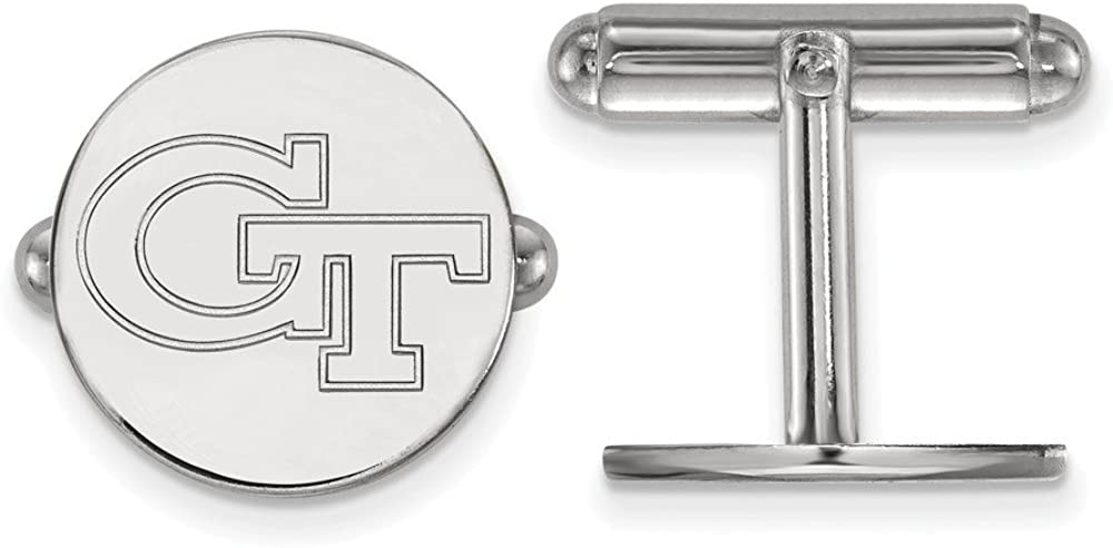 Jewel Tie 925 Sterling Silver Georgia Institute of Technology Cuff Links 15mm x 15mm