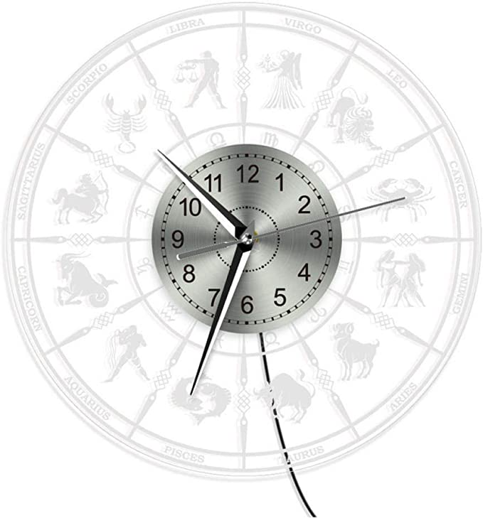 guyuell Signe du Zodiaque Horloge Murale Astrologique avec r/étro/éclairage LED Salon Astrologie /éclairage d/écoration LED Acrylique Horloge Constellation Cadeau