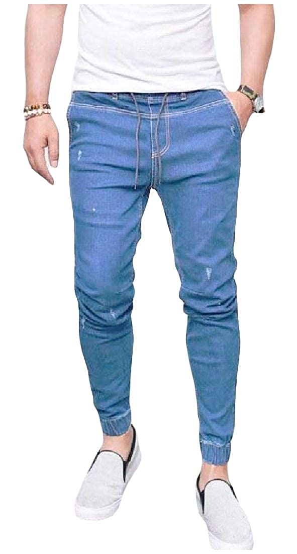 Winwinus Mens Fashionable Bodycon Lace Up Detail Plus Size Mid Waist Pockets Jeans