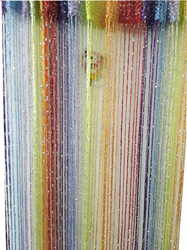 (ave split Decorative Door String Curtain Wall Panel Fringe Window Room Divider Blind Divider Tassel Screen Home 100cm200cm (Colorful18))