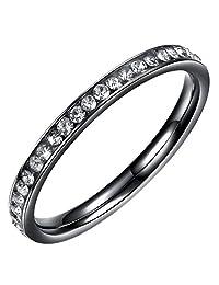Stainless Steel Full Eternal Band Ring Black Color