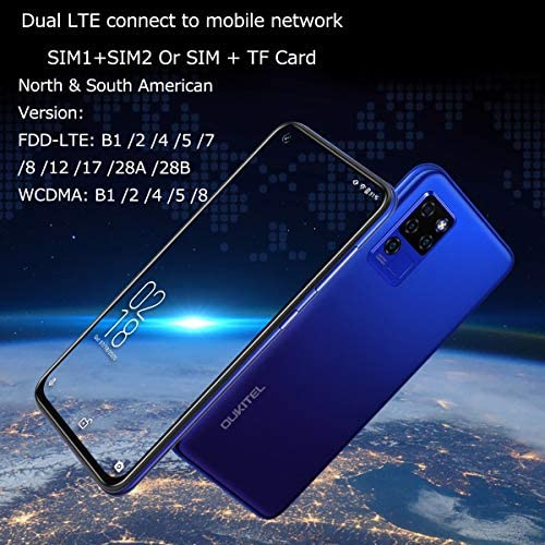 "OUKITEL C21 Unlocked Cellphones 64GB+4GB 6.4""FHD+ Smartphones Unlock Helio P60 20MP Front Camera 4 Rear Cameras 4000mAh Battery Mobile Phone 4G Dual SIM Face ID&Fingerprint Blue"