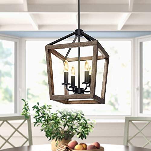 4-Light Rustic Chandelier Metal Pendant Light,Farmhouse Chandeliers,Ceiling Light Fixture