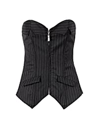NADAINGAA Women's Striped Corset Zip Front Lace up Boned Bustier Plus Size Corset