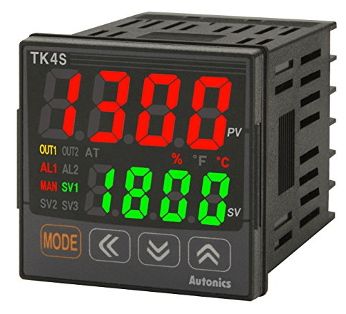Autonics TK4S-R4RN Temp Control, 1/16 DIN, 1 Alarm+PV transmission, Relay Contact Output, 100-240VAC..