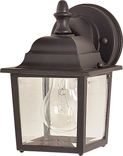(Maxim 1025EB Builder Cast 1-Light Outdoor Wall Lantern, Empire Bronze Finish, Clear Glass, MB Incandescent Incandescent Bulb , 40W Max., Dry Safety Rating, 2900K Color Temp, Standard Dimmable, Glass Shade Material, 4000 Rated Lumens )