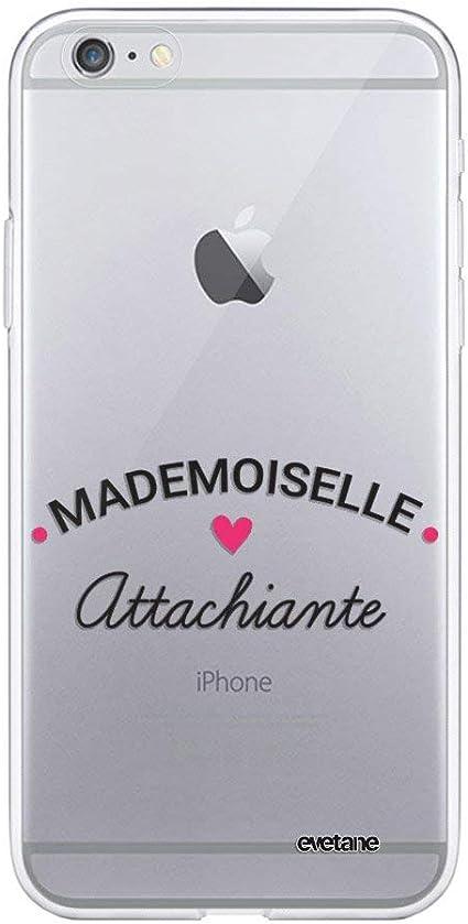 Evetane Coque Compatible avec iPhone 6 Plus / 6S Plus Souple Silicone Solide Ultra Resistant Fine Protection Housse Etui Transparente Mademoiselle ...