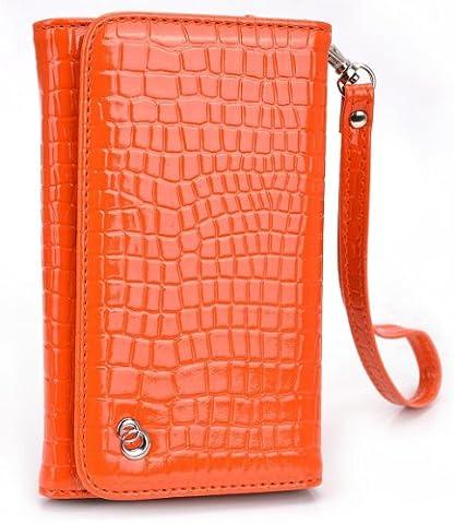 Sunset Orange MustHave Wristlet Croc Wallet Case for Alcatel OneTouch Pop Astro 4.7