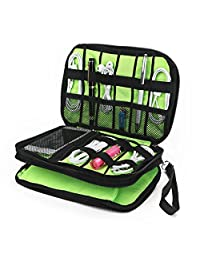 Lychee® Double Layer Universal Cable Organizer Case, Electronics Accessories Carry On Case for Cables, Memory Cards, Flash Disks, Earphones, Portable Hard Drives, Power Banks, Adapters Storage(Black)
