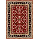 Traditional Rug - Lyndhurst Polypropylene, 2150Gr/Sqm -Red/Black Style-C Red/Black/Traditional/6'L x 4'W/Small Rectangle