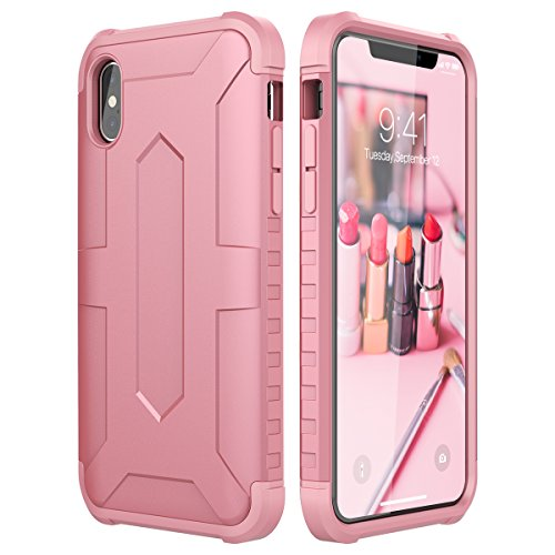 CinoCase iPhone XS Case 2 in 1 Hard Case Dual Layer Hybrid Protection PC iPhone X Case with Soft TPU Shell Durable Anti-Scratch Protective Cover for Apple iPhone X/XS Rose Gold