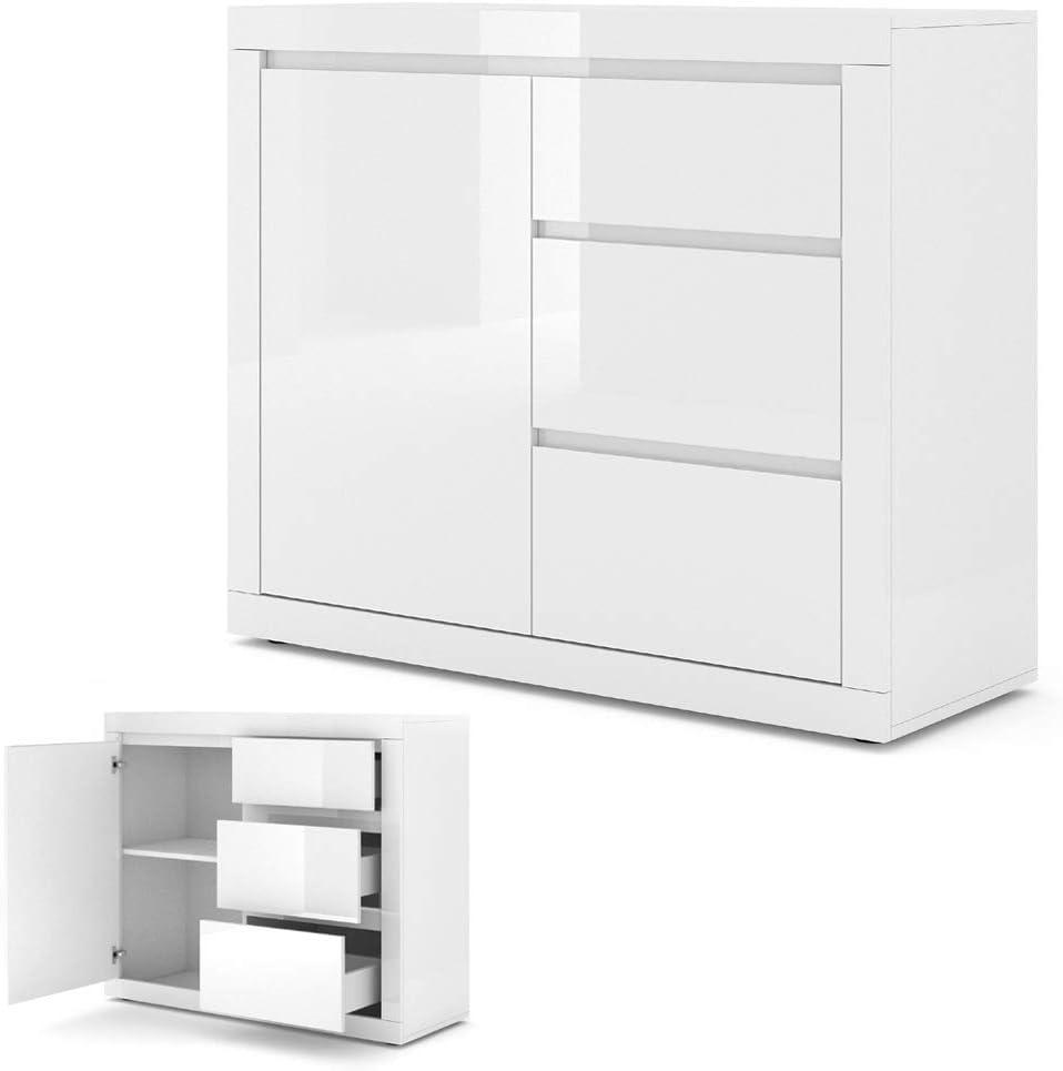 Com/ò Bello Bianco II colore: Bianco opaco//Bianco lucido con 3 cassetti BIM Furniture 105 cm