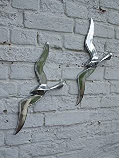 Wandhänger Möwe aus Messing verchromt G3028 silbern 16 cm. Möwe als Wanddeko