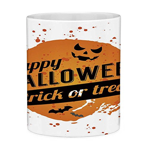 Lead Free Ceramic Coffee Mug Tea Cup White Halloween 11 Ounces Funny Coffee Mug Happy Halloween Trick or Treat Watercolor Stains Drops Pumpkin Face Bats Orange Black -