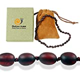 Raw Baltic Amber Teething Necklace for Baby (Unisex - Raw Cherry - 12.5 Inches), 100% Authentic Unpolished Amber Necklace for Infant & Toddler Teething Relief - Natural Alternative to Teething Tablets