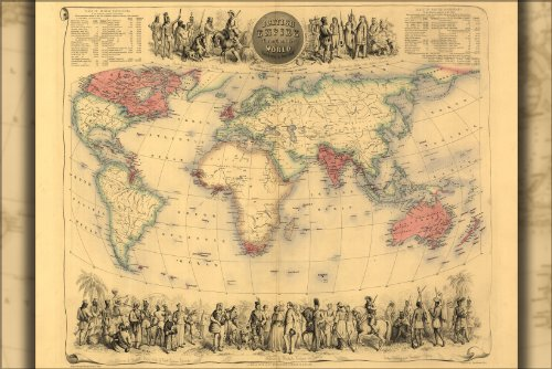 24x36 Poster; Map Of British Empire Throughout The World 1850; Antique Reprint (British Empire Map)