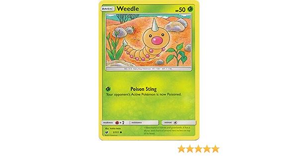 Pokemon WEEDLE 1//111 COMMON REVERSE HOLOFOIL NM CARD  CRIMSON INVASION