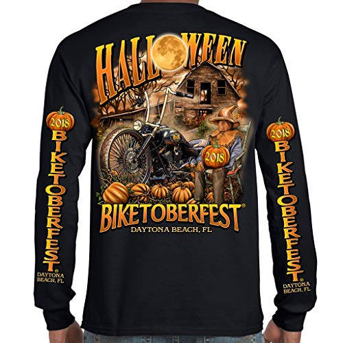 Biker Life USA 2018 Biketoberfest Daytona Beach Halloween Long Sleeve T-Shirt -