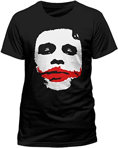 Batman The Dark Knight Joker Big Face Black T-Shirt Official DC Comics Ledger