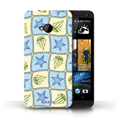 Etui / Coque pour HTC One/1 M7 / Bleu/Vert conception / Collection de Bateaux étoiles