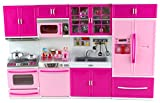 Barbies Kitchen My Happy Kitchen Full Deluxe Kit Battery Operated Toy Doll Kitchen Playset w/ Lights, Sounds, Perfect for Use with 11-12