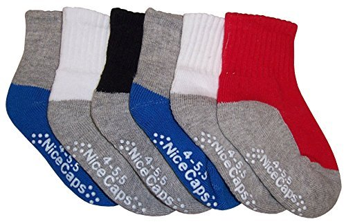 N'Ice Caps Big and Little Boys Cotton/Spandex 2 Tone Crew Sock 6PR Pack (Sock Size 4-5.5/Little Kids Shoe 2-5.5, Multi Pack With Gripper) from N'Ice Caps