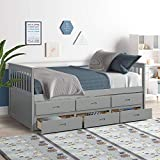 MIERES Twin Captain Bed with Trundle and Drawers,3-in-one Solid Wood Daybed with Storage for Kids Guests (Grey), Gray