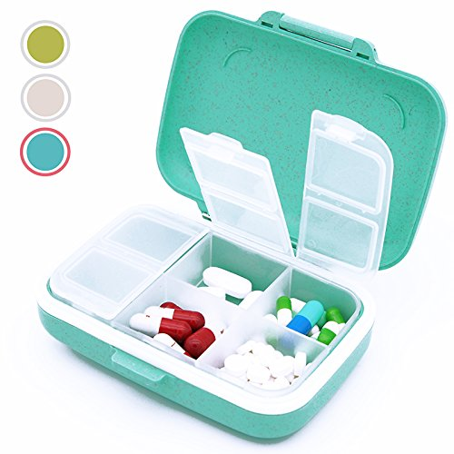 Daily Pill Organizer Travel Box, Weekly Locking Medication Case for Vitamin & Supplements, Small Medi Planner for Purse with 6 Compartments, Mini Cute Jewelry Container (1, Blue) ()