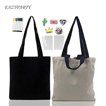 f142bb18d Eazy Party, 2 Pack Natural Canvas Tote Bags Reusable Grocery Bag,DIY bag  with