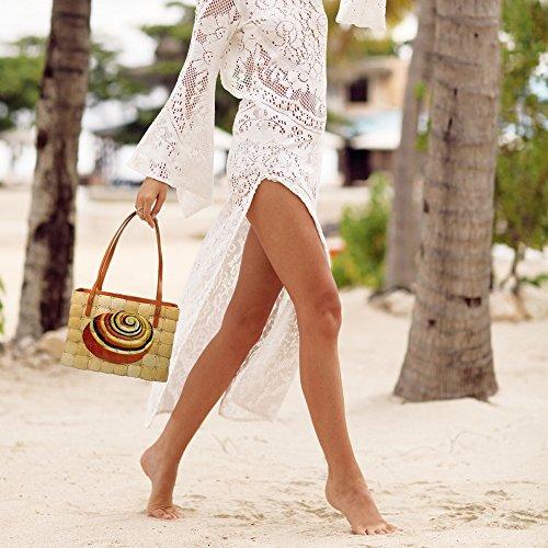 Sac zippée Ethnique Coquille Bambou avec Épaule Sac Main de main Beige Fait Porter en Style à Impression Femme Fermeture de pour wxaHqxn