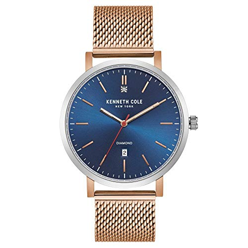 Kenneth Cole New York Men's Diamond Japanese-Quartz Watch with Stainless-Steel Strap, Rose Gold, 19.8 (Model: KC50924003) (Kenneth Cole Watches Rose Gold)