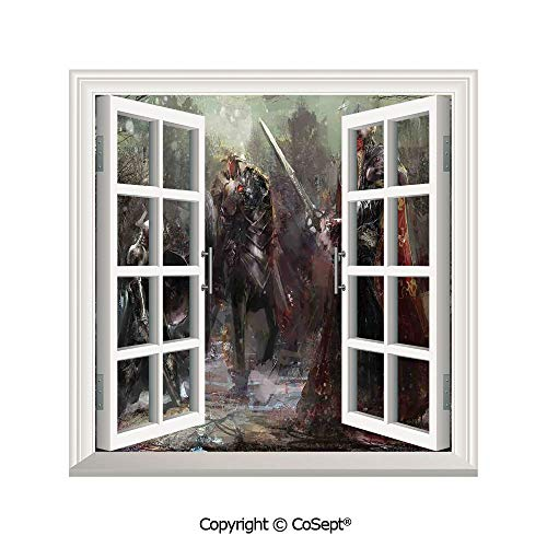 SCOXIXI Window Wall Sticker,Three Soldiers in Forest Cold Snowy Winter Fighting Defending Demonic Battlefield,3D Window View Decal Home Decor Deco Art (25.86x22.63 inch)