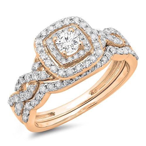 Dazzlingrock Collection 0.95 Carat (ctw) 14K Round Diamond Swirl Bridal Halo Engagement Ring Set 1 CT, Rose Gold, Size 7.5