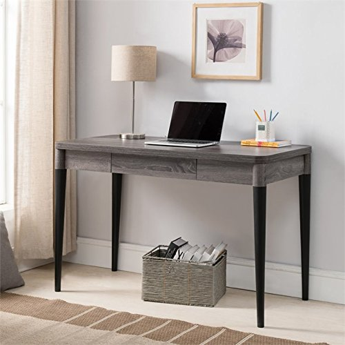 Furniture of America Ayona Two Tone Writing Desk in Distressed Gray by Furniture of America