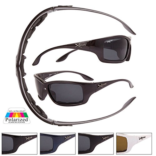 e126c1e8794f Navy Xsportz Active Sports Polarized Sunglasses with Padded Wrap-around  frames and smoke lenses.