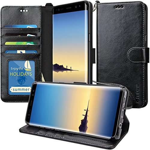 Price comparison product image Galaxy Note 8 Case, K-Moze Galaxy Note 8 Wallet Case [4 Card Slots ] [Wrist Strap] [Stand Feature] PU Leather Flip Wallet Case Cover for Galaxy Note 8 - Black