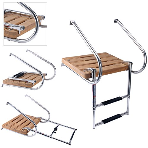 (Amarine-made Boat In-board Swim Teak Platform with 2-steps Stainless)