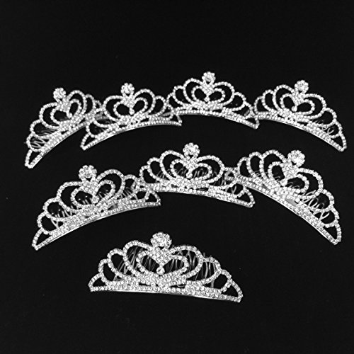Sweet 16 Birthday Party Favors 8-Count Elegant Rhinestone Tiaras with Comb (Disney Princess Pageant Dress)