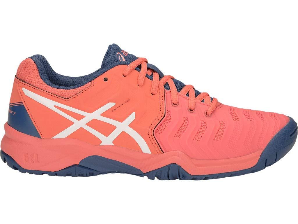 ASICS Kid's Gel-Resolution 7 GS Tennis Shoes, 1.5, Papaya/White