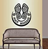 Wall Vinyl Decal Home Decor Art Sticker Foot Massage Sign Words Symbol Foot Body Care Beauty Spa Salon Relax Room Removable Stylish Mural Unique Design